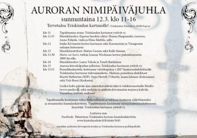 12.3. klo 11-16 Auroran nimipäiväjuhla Träskändan kartanolla!