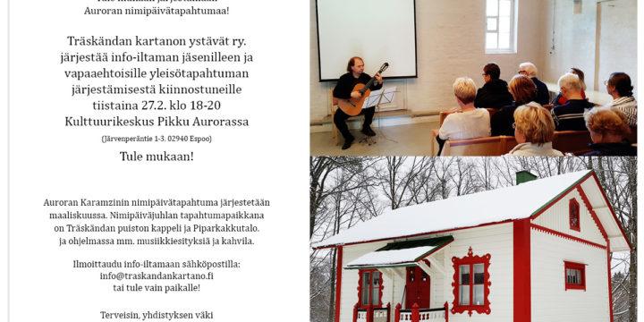 Tervetuloa yhdistyksen jäsenten ja vapaaehtoistoiminnasta kiinnostuneiden info-iltamaan Pikku Auroraan ti 27.2. klo 18!