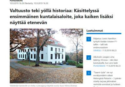 Valtuuston kokouksesta ja kuntalaisaloitteen käsittelystä Länsiväylässä